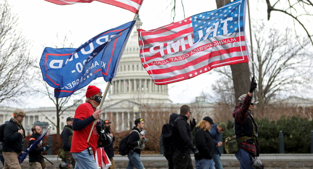 Supporters of U.S. President Donald Trump protest against the certification of the 2020 presidential election results by the Congress