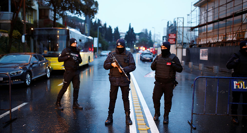 Police secure the area near an Istanbul nightclub, following a gun attack, in Turkey, January 1, 2017.