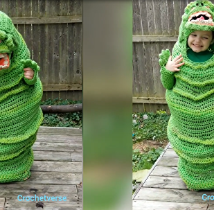 Crochet Queen: Mother Crafts Unique Slimer 'Ghostbusters' Costume for Son