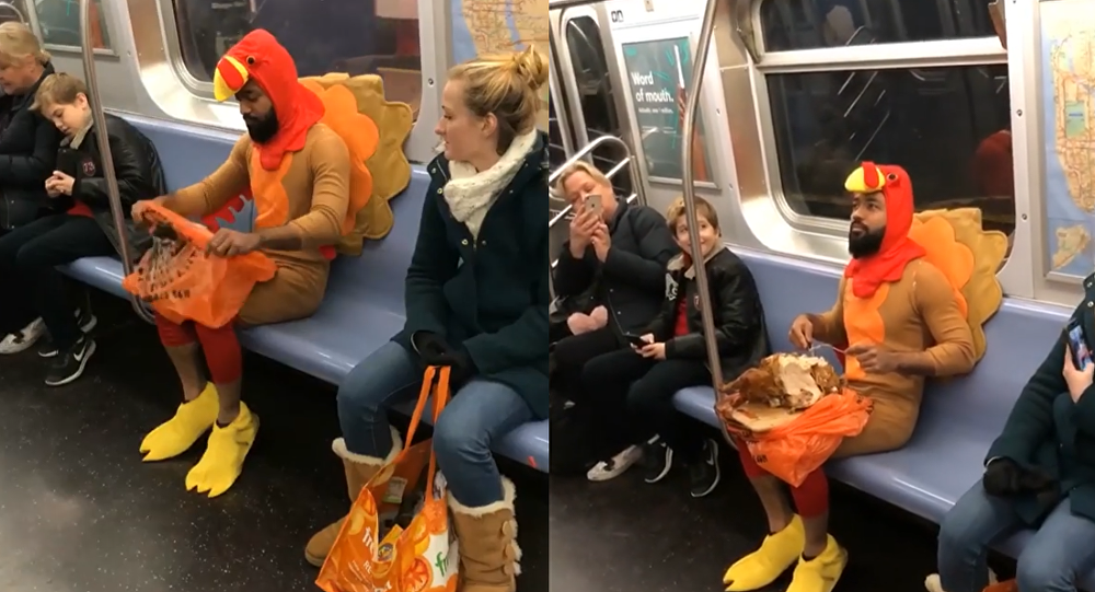 Family Matters? Prankster Dons Turkey Suit, Digs Into 'Relative' on Subway