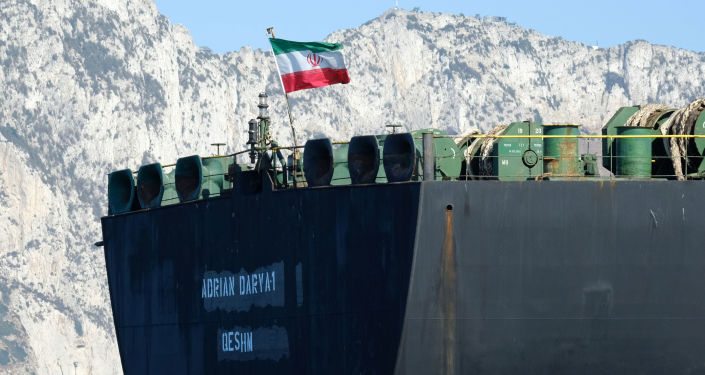 An Iranian flag flutters on board the Adrian Darya oil tanker, formerly known as Grace 1, off the coast of Gibraltar on August 18, 2019.
